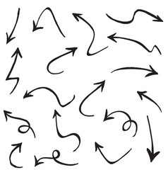 set hand drawn arrows doodle on white vector image