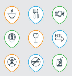Set of 9 restaurant icons includes lemon juice vector