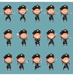 Set of police women flat icons3 vector image