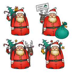 set of santa clauses with reindeer bag gifts vector image