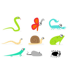 set of side view animal in flat style art vector image