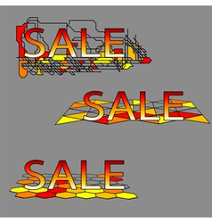 set of three sale text on geometrical grid vector image
