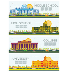 Set of university high school and college study vector