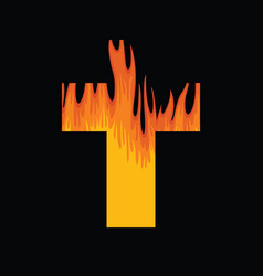 Sign christian cross with a flame inside vector