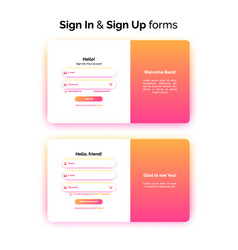sign in and sign up forms web design vector image