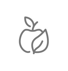 simple eco apple line icon symbol and sign vector image