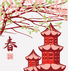 Spring landscape with chinese hieroglyph spring vector