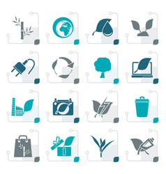 Stylized environment and conservation icons vector