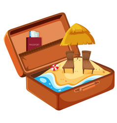 summer beach vacation in suitcase vector image