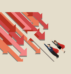 Superman and woman flying against trend vector