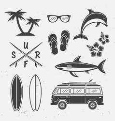 Surfing black icons and design elements vector