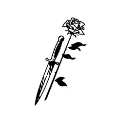 tattoo a dagger and roses vintage tattoo in vector image