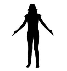 Teen girl spreads her hands silhouette vector