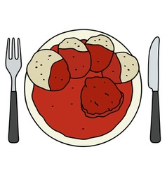 Tomato sauce with dumplings vector image