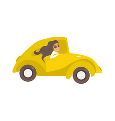 travelling car girl driving vector image