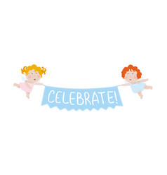 two cute little angels holding a decoration banner vector image