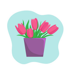 vase with pink tulips vector image