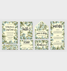 Wedding invitation frame set blue wax flowers vector