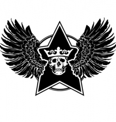 Wings skull and star sign vector