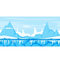 Winter Mountain Game Background vector