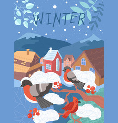 winter scene in a village with robins in a tree vector image