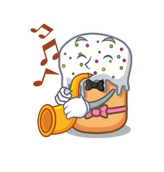 with trumpet easter cake mascot cartoon vector image