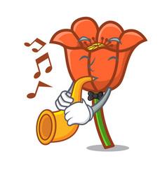 with trumpet poppy flower mascot cartoon vector image