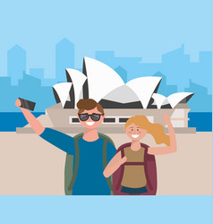 Woman and man couple with backpack taking a vector