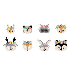 woodland animals cartoon forest characters vector image