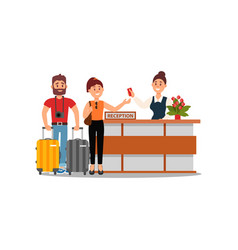 Young family couple at hotel reception desk clerk vector
