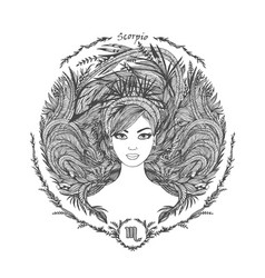 zodiac sign portrait of a woman scorpio vector image