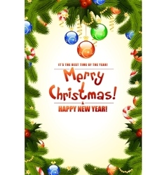 Christmas background with fir twigs vector image vector image