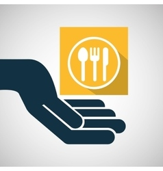 concept e-commerce hand with restaurant icon vector image