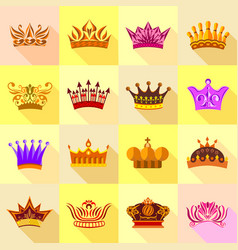 crown icons set colorful flat style vector image