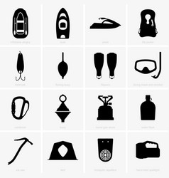 fishing and camping icons vector image