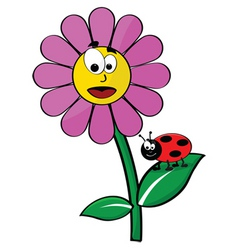flower and ladybug vector image vector image