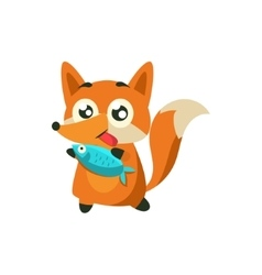 Fox With The Fish vector image