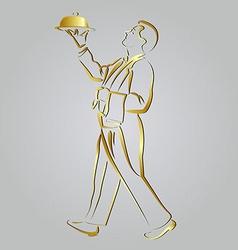 Golden line sketch waiter vector image