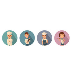 set icon character cook waiter chef waitress vector image