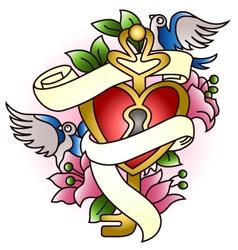 floral heart with bird tattoo vector image