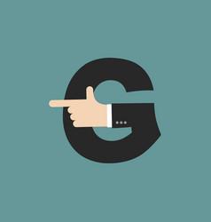 G letter businessman hand font it shows finger vector
