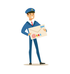 postman in blue uniform delivering mail holding vector image vector image