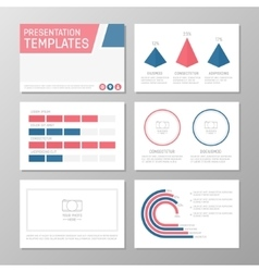Set of blue and red template for multipurpose vector