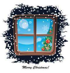 Window snowy night christmas background vector