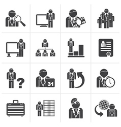 Black Business management and hierarchy icons vector image vector image