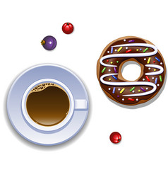 cup of coffee and a donut vector image vector image