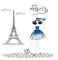 Girl walking with french bulldog in the paris vector