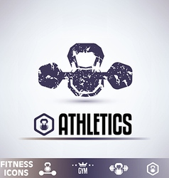 gym icons fitness grunge emblems collection vector image