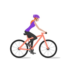 cyclist girl on bike biker and bicycling sport and vector image