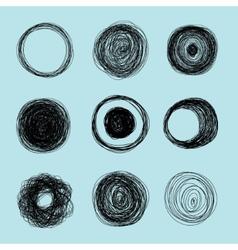 Drawn circle element set vector image